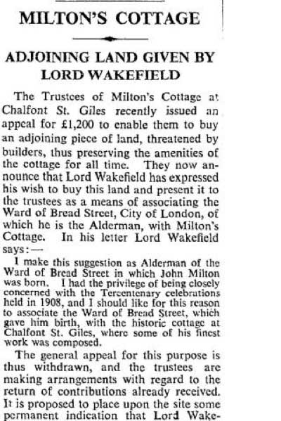 The Times's report in 1936 - Milton Cottage Adjoining Land Given By Lord Wakefield